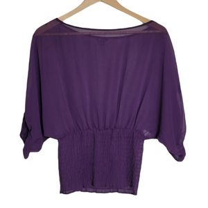 GUESS Blouse Purple Sheer Cropped Batwing